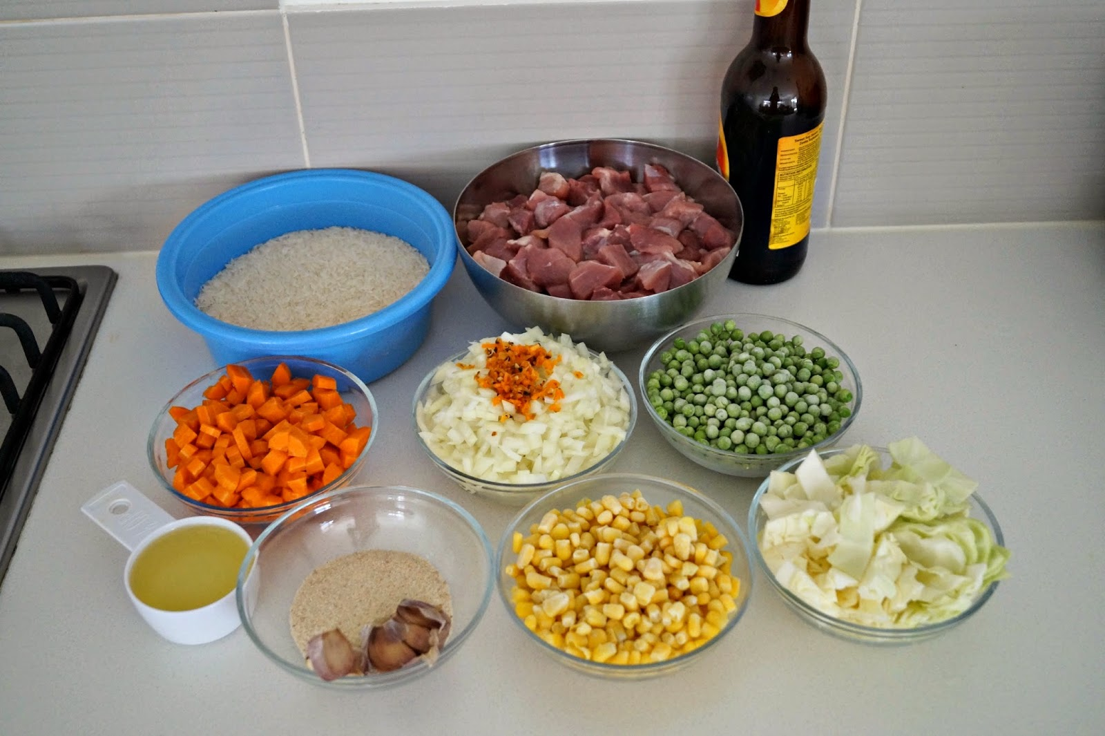 Pork fried rice sierra leonean recipe the cooking wardrobe 1kg pork shoulder butt steak cut into cubes 4 cups rice 2 large carrots chopped 1 large brown onion chopped 12 small cabbage chopped 1 cup frozen ccuart Gallery