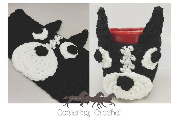 Cantering Crochet Free Crochet Pattern Boston Terrier Mug Cozy