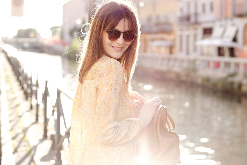 scarf print yellow zara dress and rebecca minkoff mab tote bag in brown leather