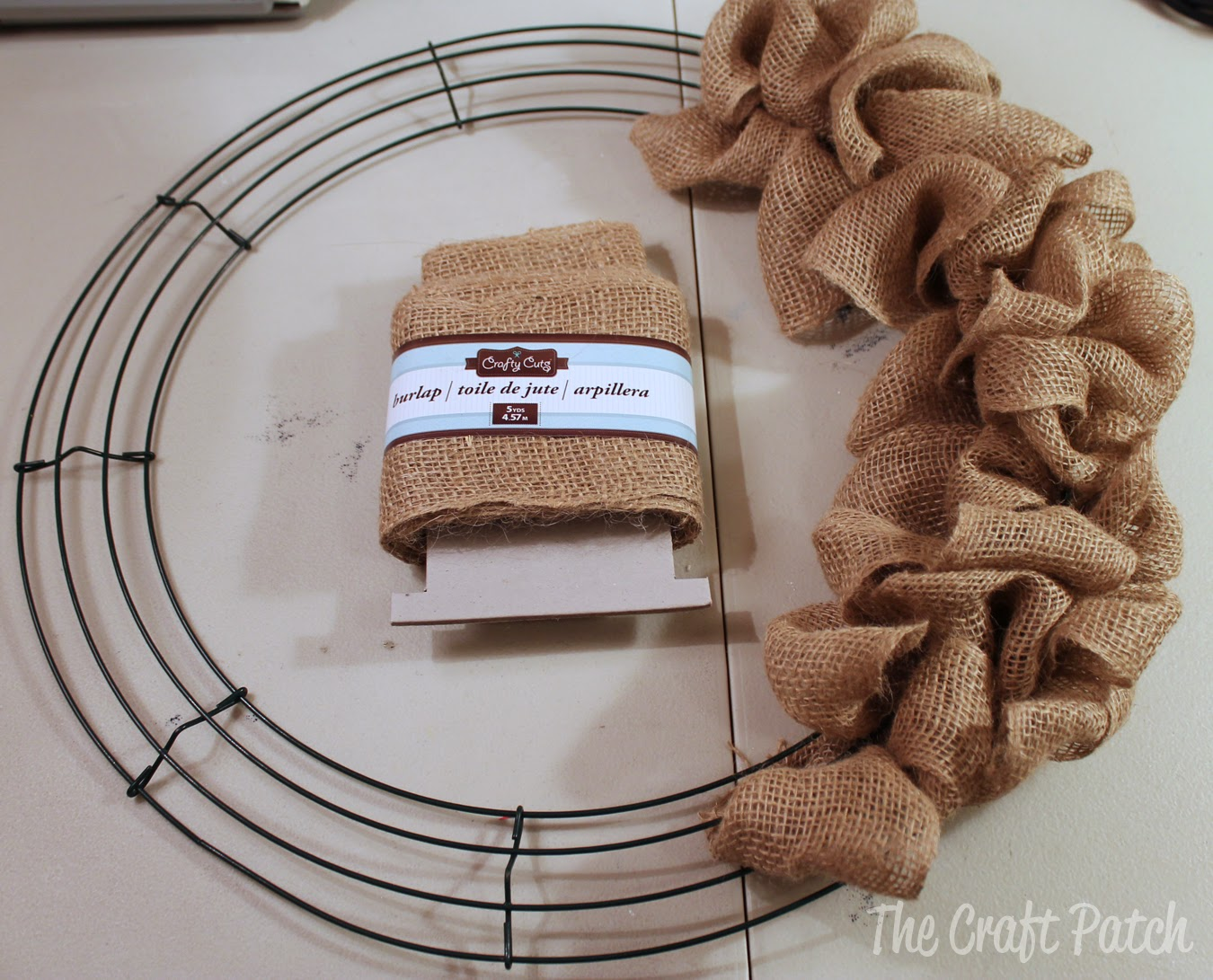 The craft patch easy burlap bubble wreath tutorial for What to make with burlap