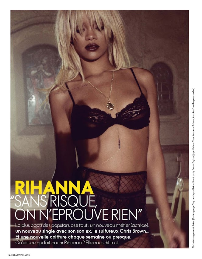 Rihanna in lingerie, photo from Elle Magazine France April 2012 Issue