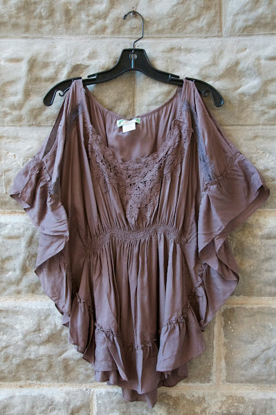 Taupe flutter sleeve cotton blouse with ruffles and lace.