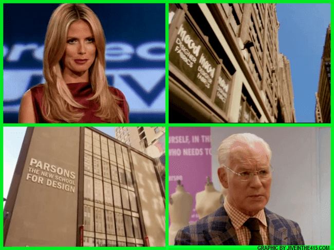 Lifetime's Project Runway Season 12 mentor Tim Gunn and Heidi Klum, Mood Design Fabrics and Parsons The New School For Design.