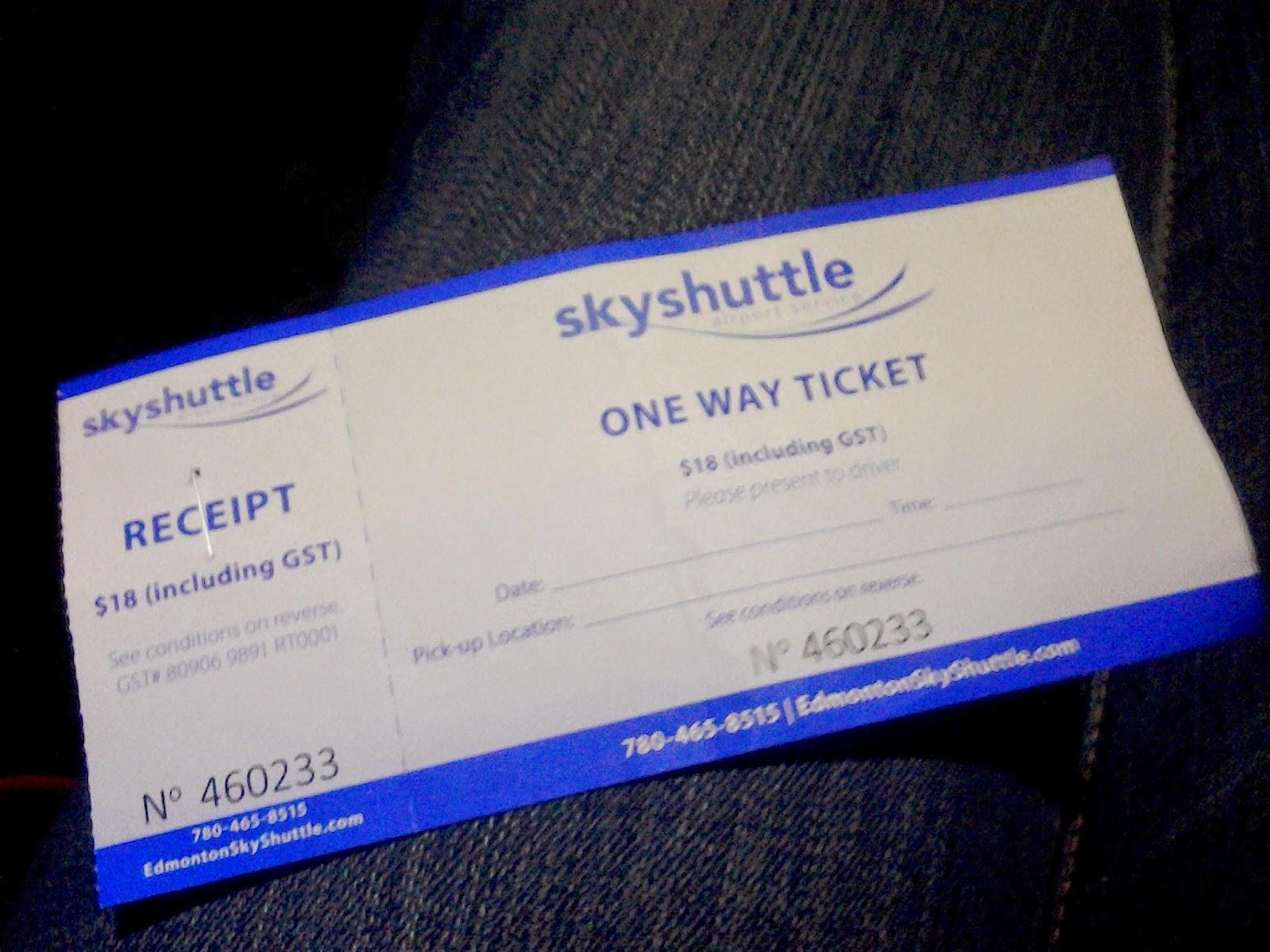 skyshuttle ticket edmonton