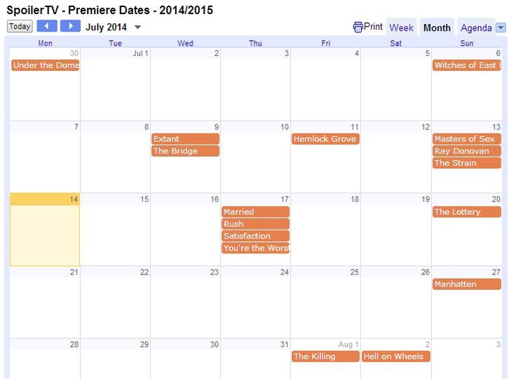 The SpoilerTV 2014/15 Premiere Dates Calendar
