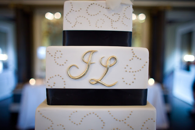 4 Tier Wedding Cake with Gold Monogram