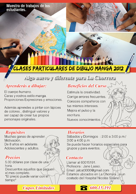Afiche del curso de dibujo manga en Panama.