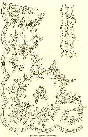 Antique Embroidery Border Pattern Flowers, Lace and Butterfly from Knick of Time