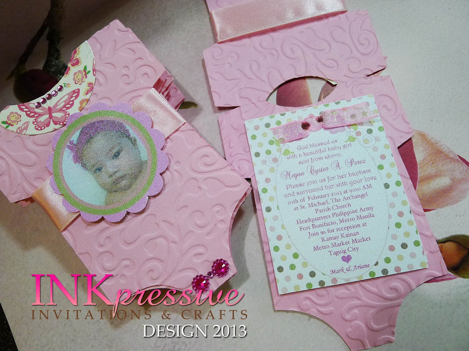 Inkpressive invitations june 2013 pink baby onesie baptism invitation solutioingenieria Gallery