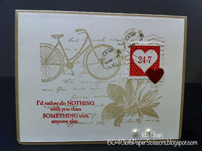 Valentine Day Postage Due card by Ida Chan Stampin Up Vancouver