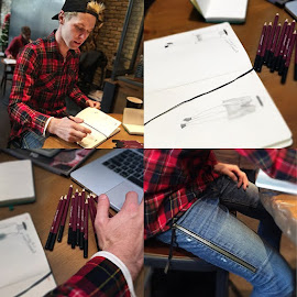 James Vincent Collection Designer sketching his own looks wearing his fav designers.