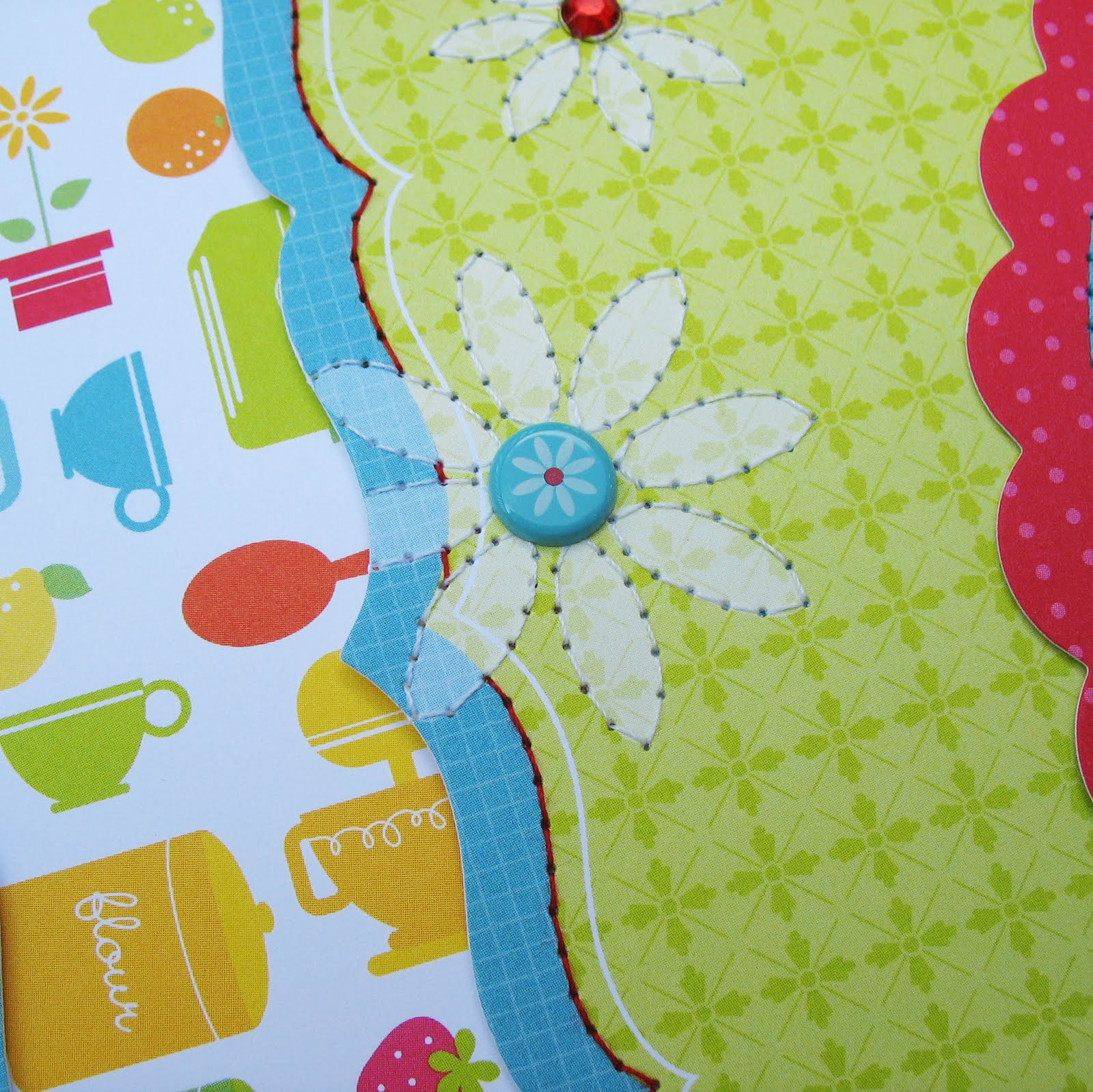 Scrapbook paper cooking - Not Only Do I Love Cooking But I Love Stitching So I Outlined The Flowers And Border On This Patterned Paper