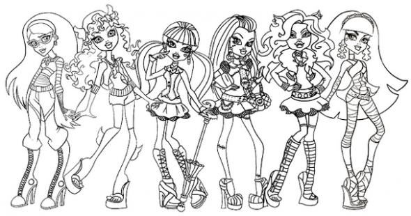 Free Monster High Fearleading Coloring Pages title=