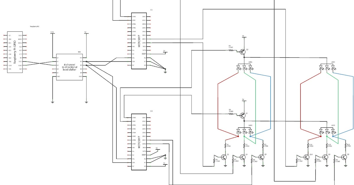 raspberry pi experimenter  electronic diagram for portion of slice 2x2