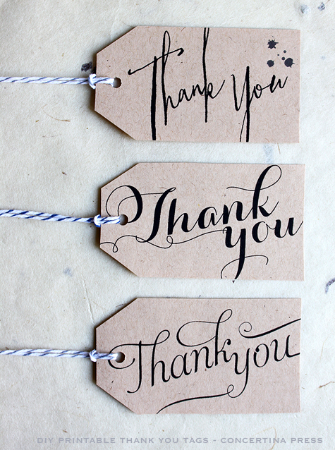 Thank You Wedding Gift Tags : ... : DIY Printable Calligraphy Thank You Wedding Favor or Gift Tags