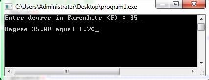 1.7 จงเขียนโปรแกรมแปลงหน่วยอุณหภูมิ(จากฟาร์เรนไฮต์เป็นเซลเซียส)