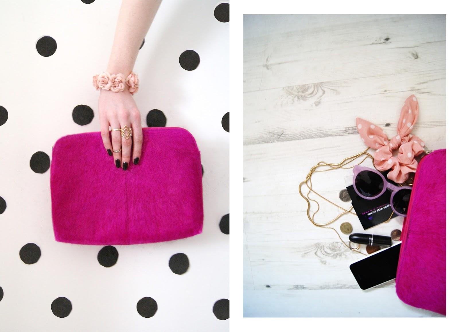 Leather fur neon pink clutch bag - www.thegoodowl.co.uk