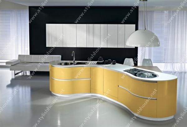 Bright wooden Cabinet Modern And Luxury Italian Kitchen Design