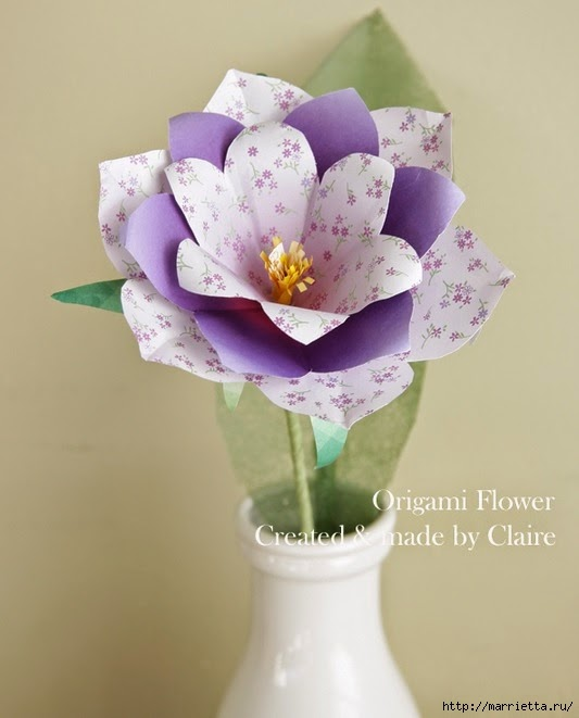 jarrón con flores de papel