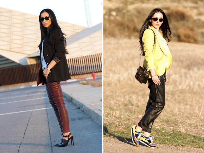 Blogger de moda looks tendencia prendas de cuero favoritas