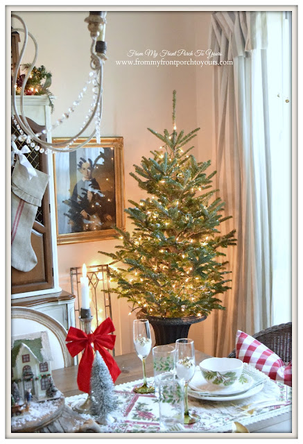 Farmhouse Christmas Dining Room- Christmas Tree-White Lights- Buffalo Check Pillow-From My Front Porch To Yours