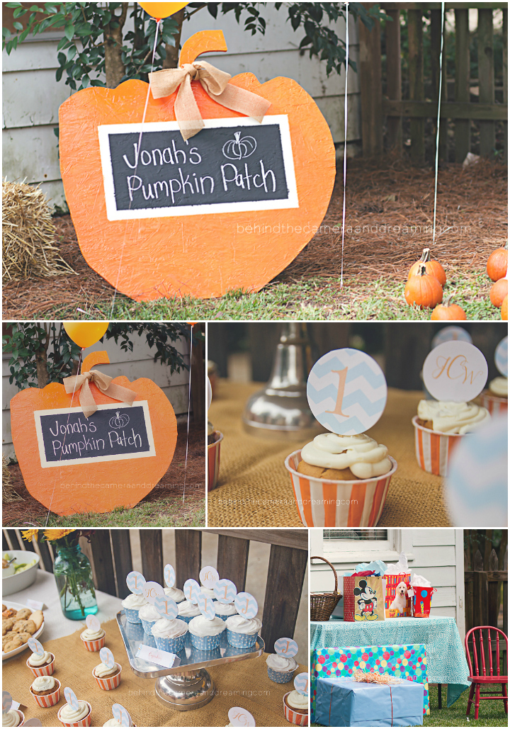 first birthday jonah 39 s pumpkin patch decor behind the On pumpkin decorating party ideas