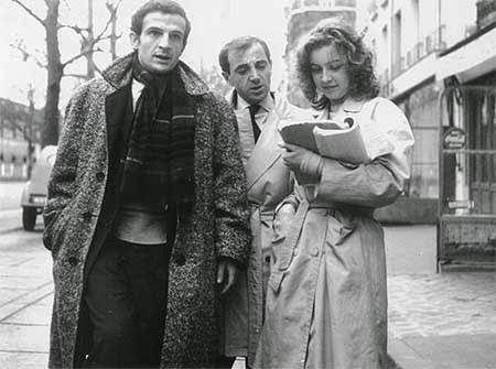 Marie Dubois com Charles Aznavour e François Truffaut durante as filmagens de 'Atirem sobre o pianista'