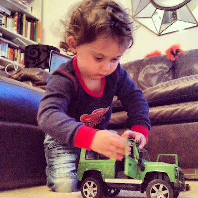 Day 120 of The 366 Project, Ben playing with his jeep