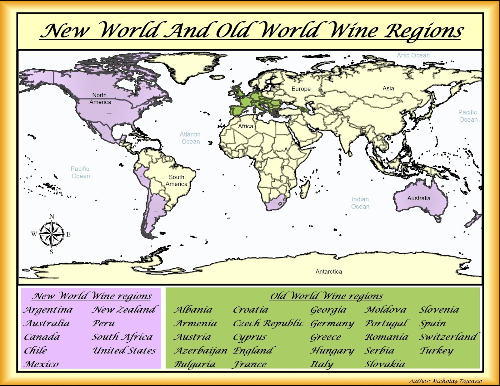My Wine Journal A Map Of New And Old World Wine Regions