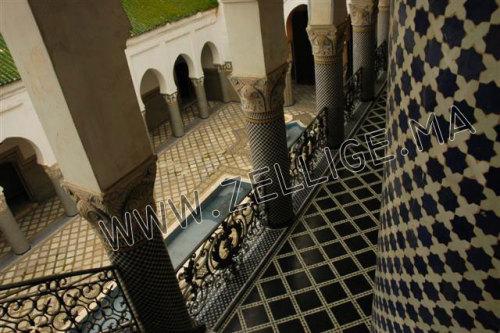 Zellige Colone : Deux colonnes en zellige marocain du fes beldi fassi