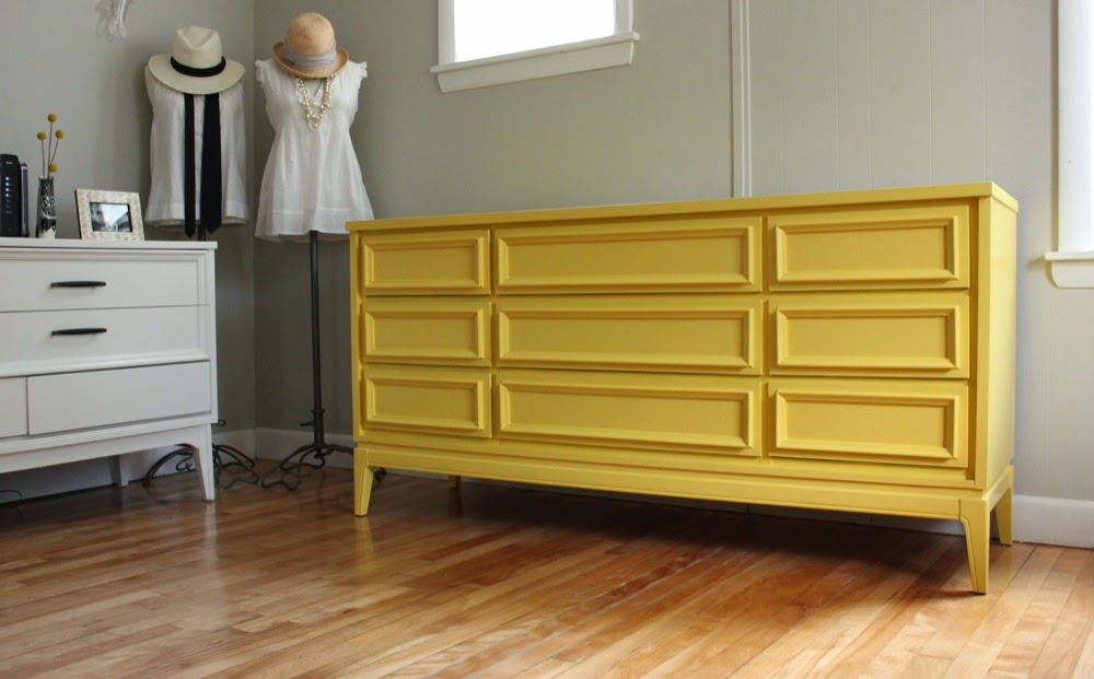 blue lamb furnishings : yellow mcm dixie dresser/credenza - sold