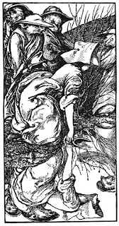 drawing of a young woman kneeling at a stream with three scary goblin men behind her