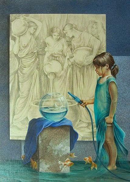 pintura de criança bricando