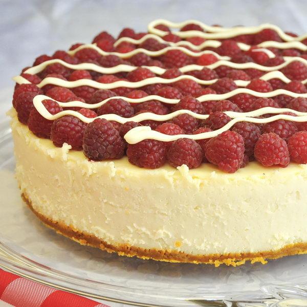 White Chocolate Cheesecake with Raspberries