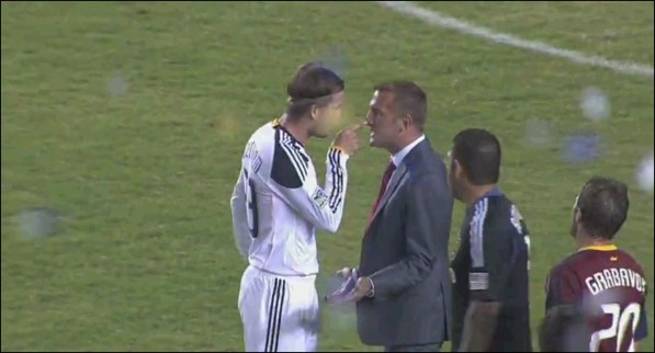 Beckham gets into it with RSL manager Jason Kreis.
