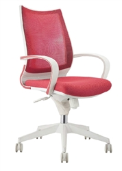 Red Office Chair with White Frame