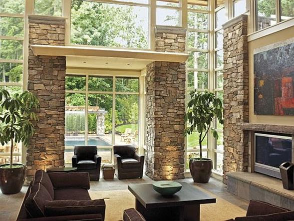 Decora y disena 10 salas r sticas con paredes de piedra for Paredes exteriores decoradas