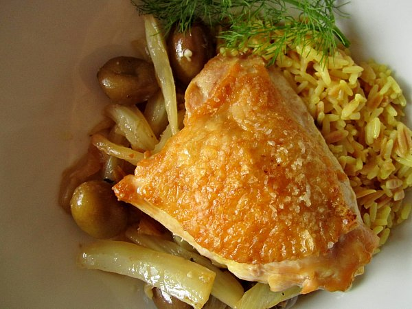 Braised Chicken With Garlic And Fennel Recipe — Dishmaps