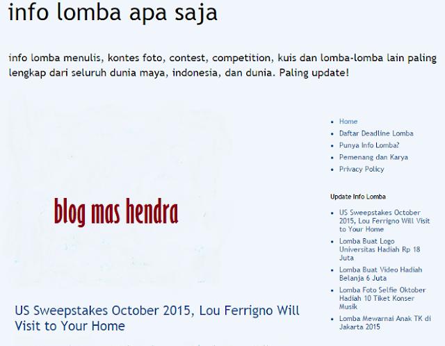 Tampilan Website Lomba Apa Saja - Blog Mas Hendra