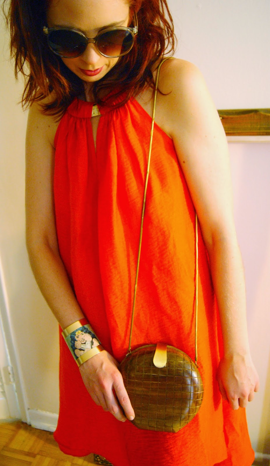 Organic Orange!: Dress from H&M Conscious Collection, Mizdragonfly Bracelet, French Connection Wood Purse Fashion Style Melanie.Ps Blogger Toronto The Purple Scarf Styletips Outfit