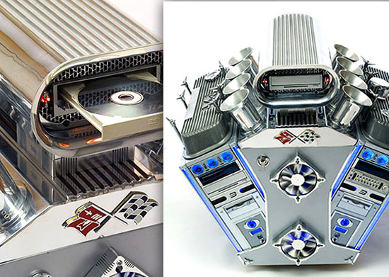 PC case resembling car engine