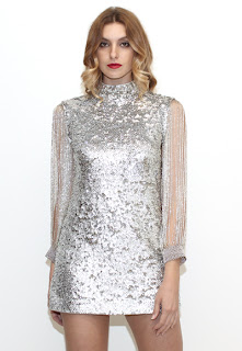 Vintage 1960's silver sequin and beaded mini dress