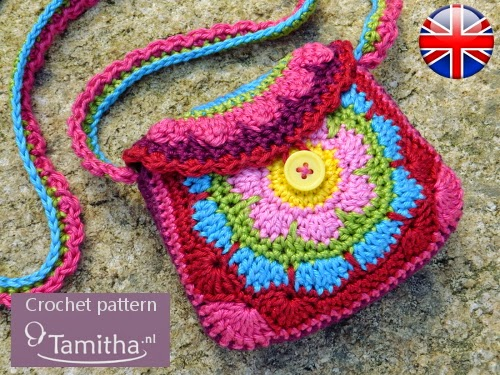 Crochet Patterns For Kids Bags : Tamigurumi: ENGLISH crochet pattern Flowery Purse!