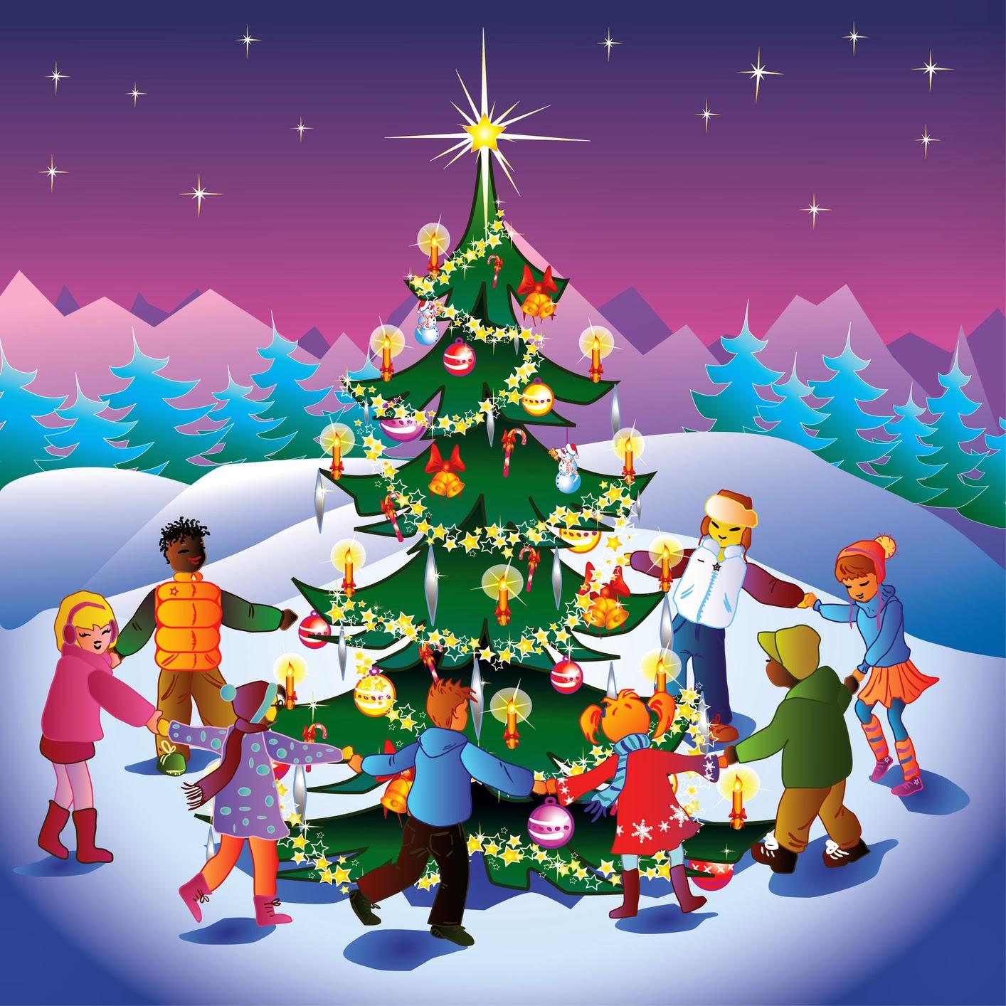 Banco de im genes familia feliz bailando alrededor del for Fotos arbol navidad