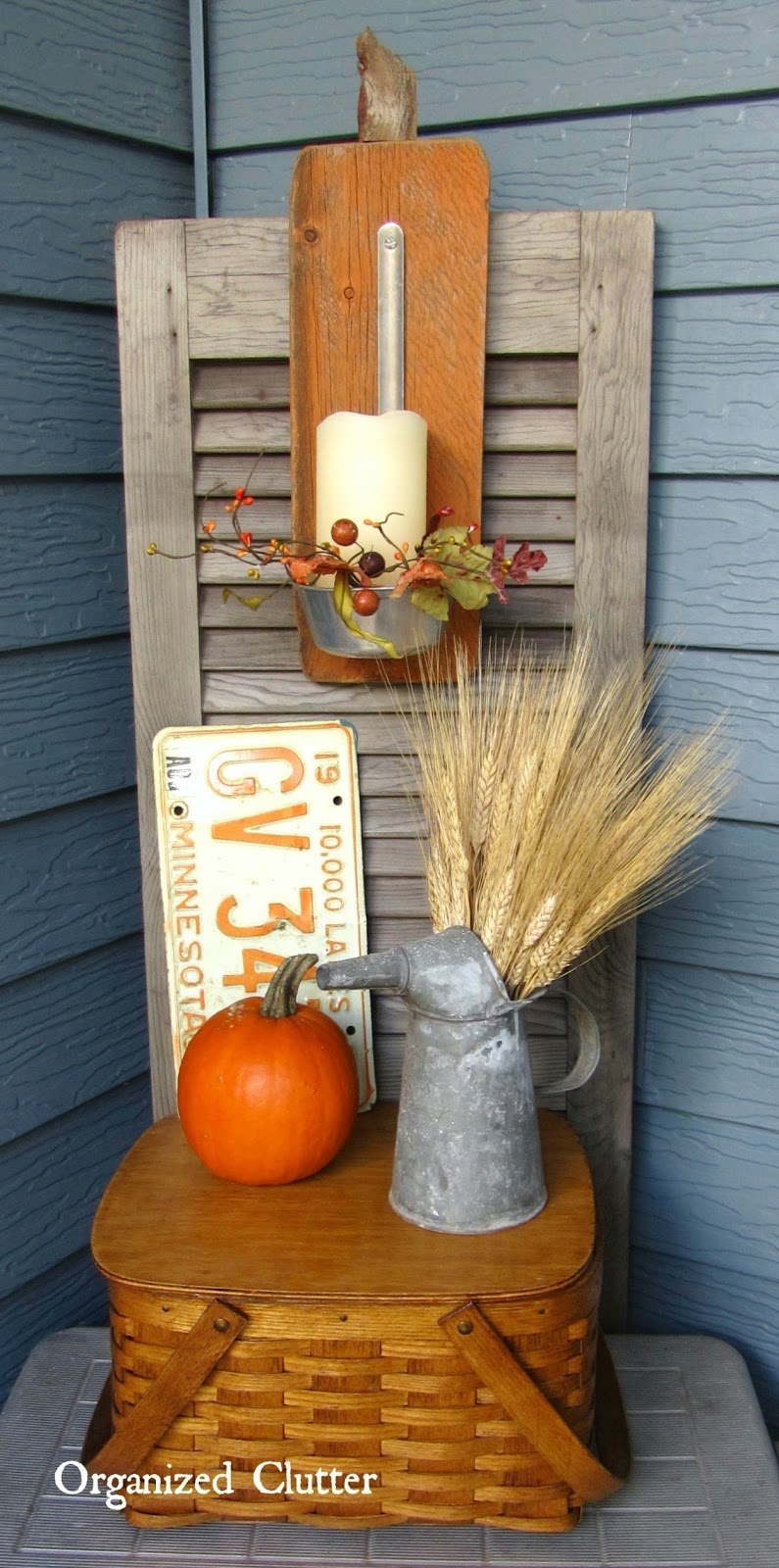 Barn Wood Ladle Candle Holder & Vignette www.organizedclutterqueen.blogspot.com