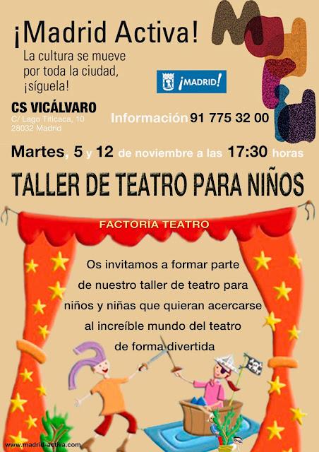 Taller de teatro gratuito para niños noviembre Sociocultural