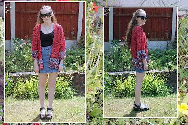 red patterned new look kimono, cat eye sunglasses, denim button up mini skirt and black chunky sandals