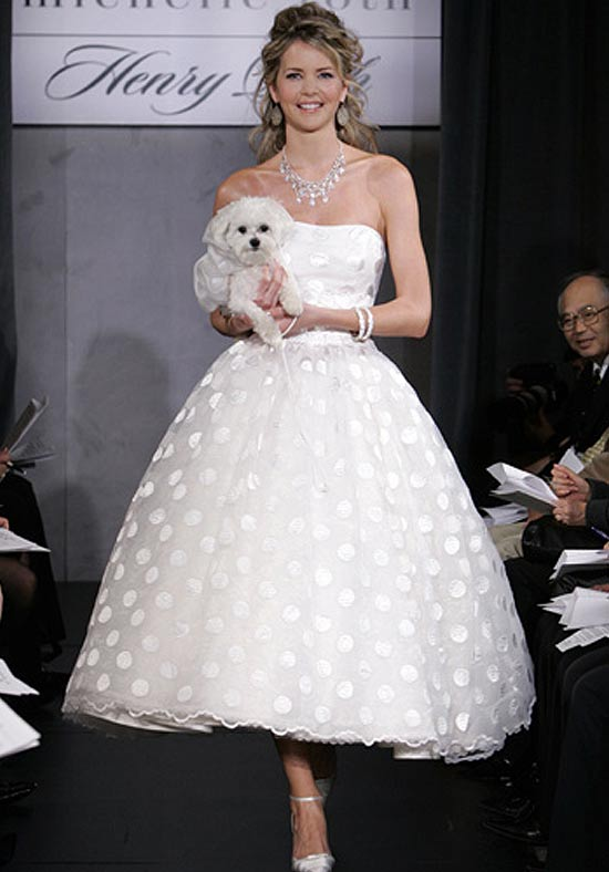 With this tea length wedding gown you get the look and feel of a ballgown