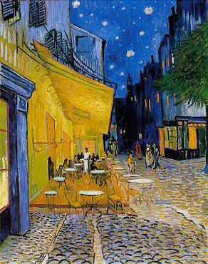 Terrasse du café le soir, Place du forum, Arles