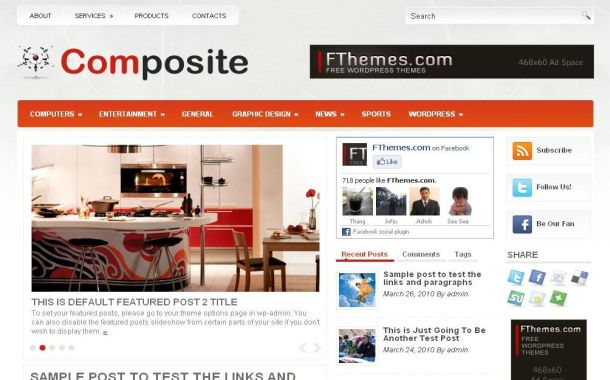 Free Orange Gray Office Furniture Wordpress Theme